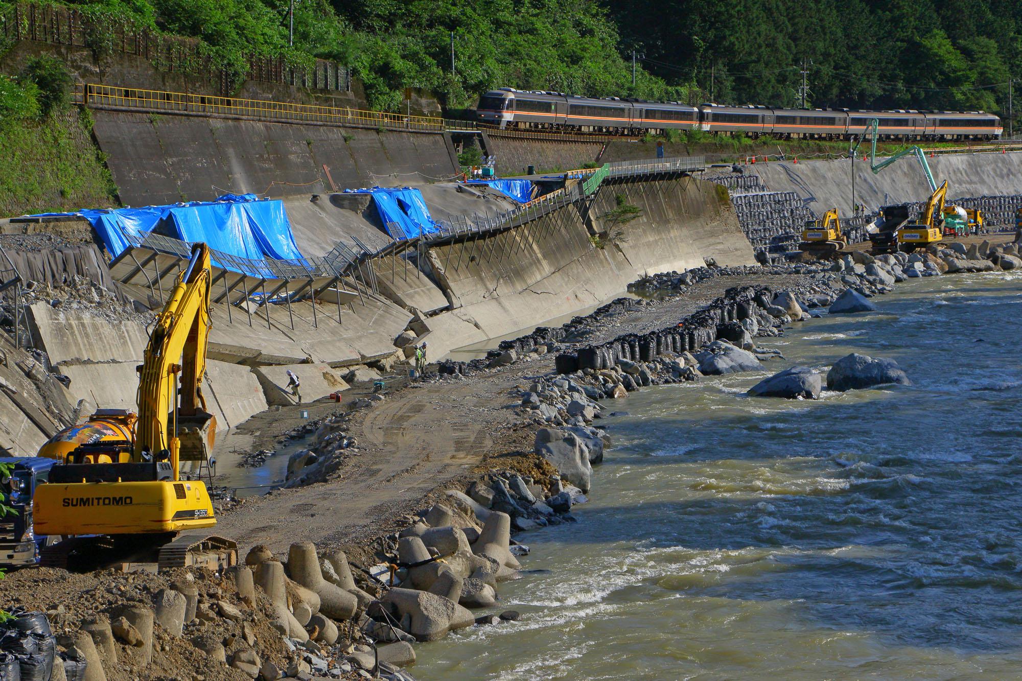 令和2年7月豪雨で被災した国道41号線