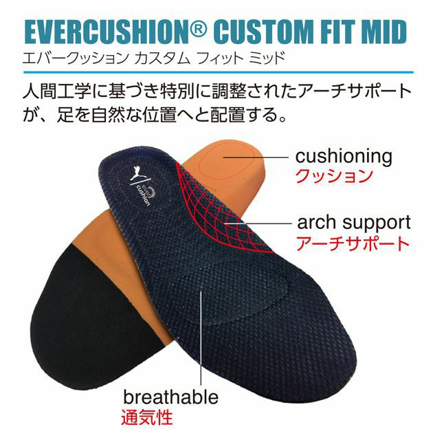 PUMA独自のアーチサポートインソールで疲れにくい安全靴を実現