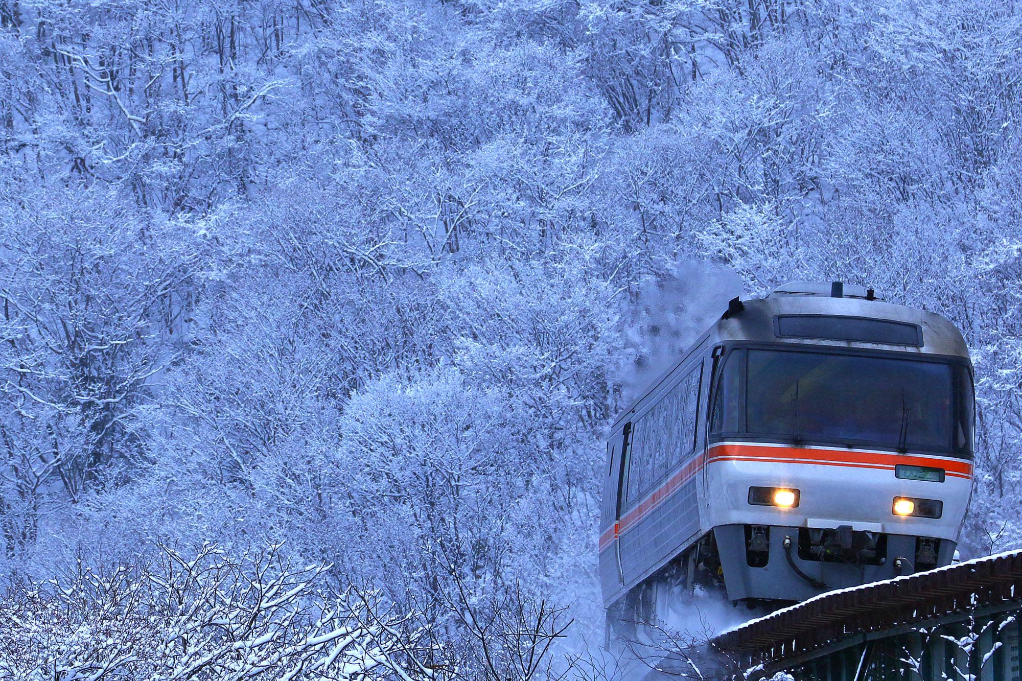 雪景色の中を走る特急ワイドビューひだ号