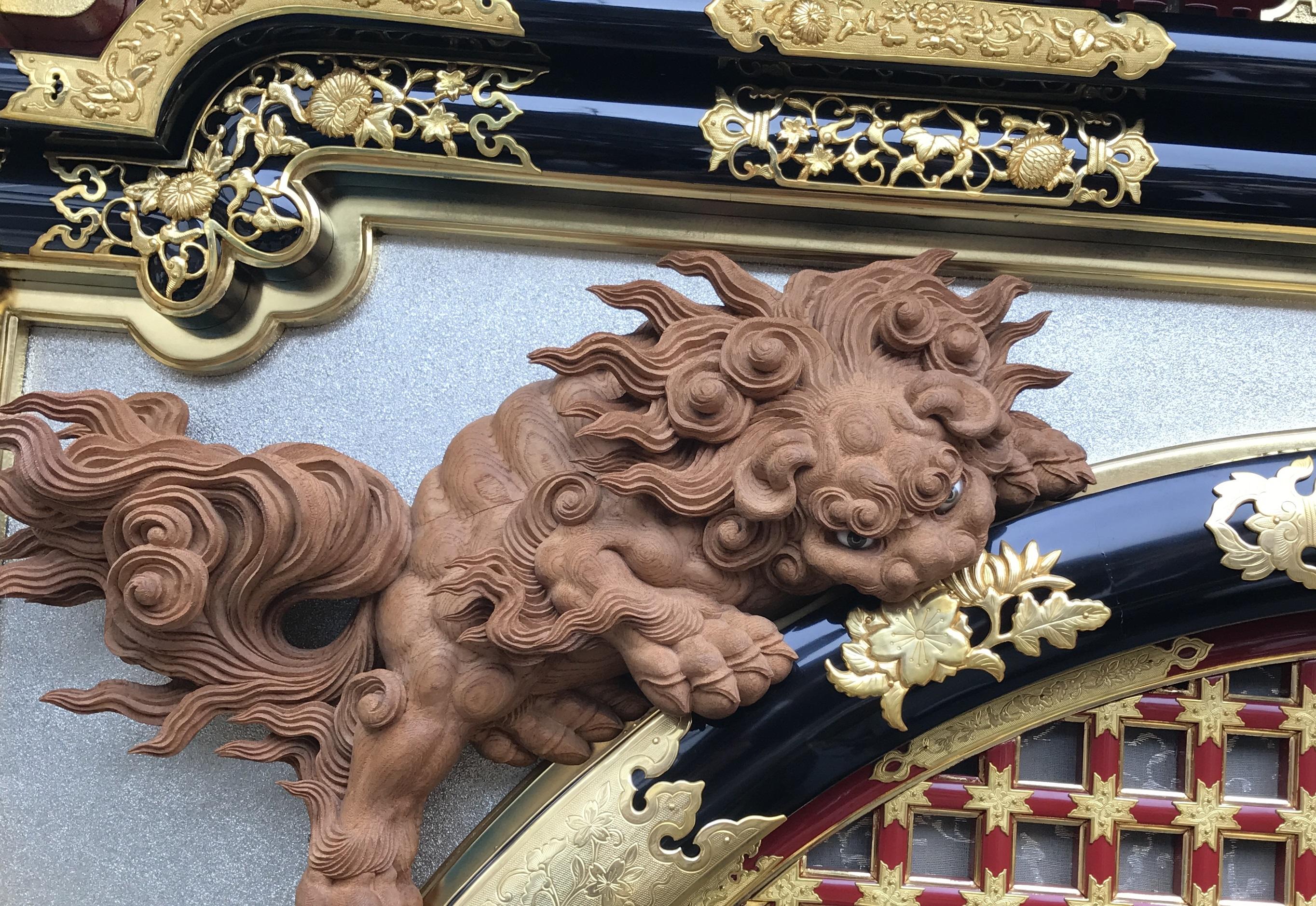 2016秋まつり屋台木彫りの彫刻獅子