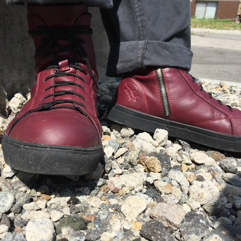 チャーリー安全靴|CH001 セーフティーブーツワインレッドブラック