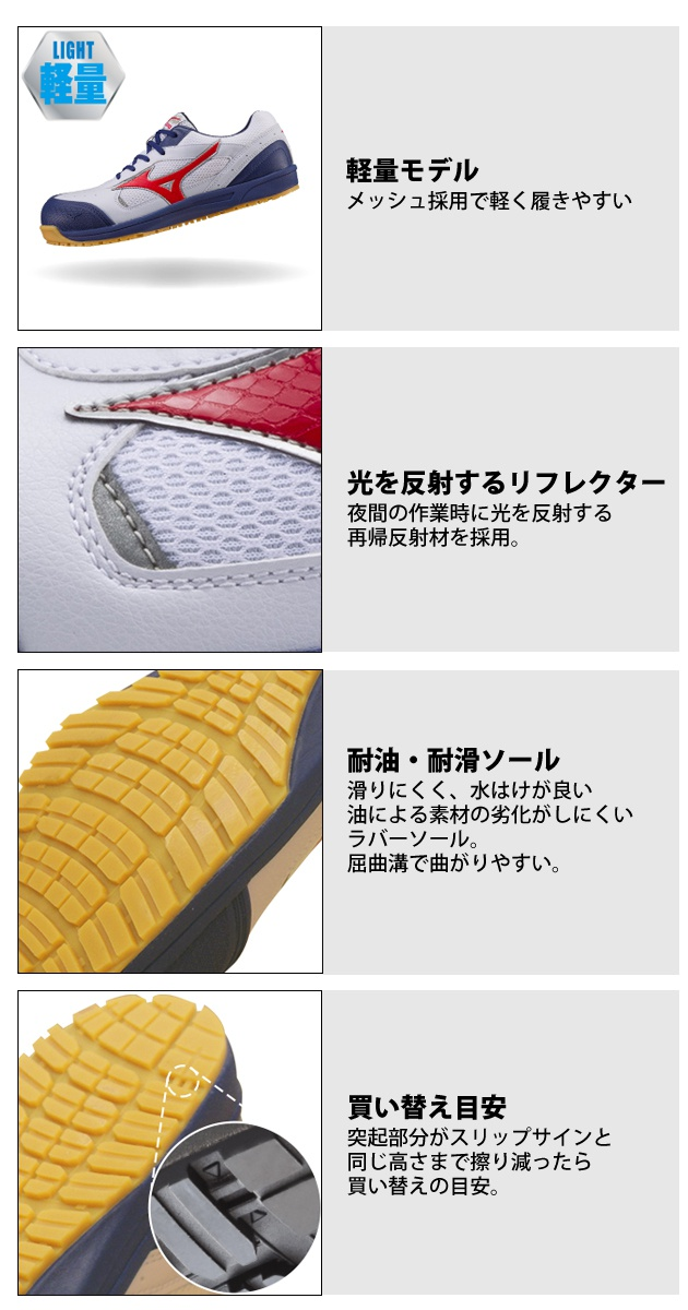 |MIZUNO|ミズノ|安全靴|ミズノプロアクティブスニーカー C1GA1600